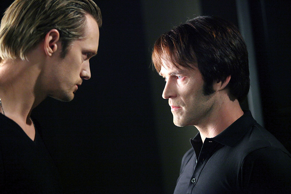 TRUE BLOOD [US TV SERIES 2008 - ]  Series,2/Episode,9/I Will Rise Up  ALEXANDER SKARSGARD as Eric Northman,  STEPHEN MOYER as Bill Compton         Date: 2008